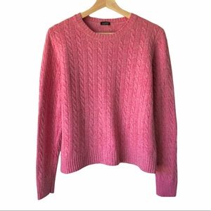 J. Crew Factory Pink Cable Crew Neck Sweater
